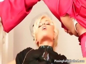 Horny busty blonde in a nice outfit part4