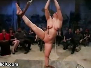 Gagged bound babe on one leg ass hooked and fucked in public
