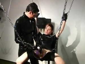 Smut domina pleasuring surrounding the bondman slut