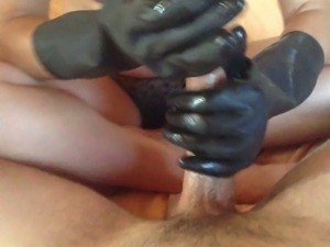 Wifey's Black Latex Gloves Handjob
