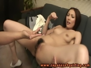 Japanese squirts while fingered after getting toy free