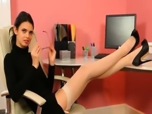 Secretary in sexy black heels masturbate