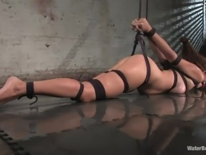 tied milf washed on the floor
