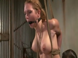 Tied down busty blonde punished roughly free