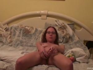naughty girl masturbating at home with her vibrator