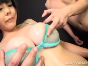 exploiting her big oiled boobs