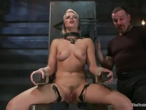 blonde in bondage device receives harsh treatment