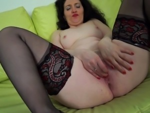 naughty milf lydia masturbating on couch