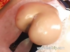 Perfect asian anal sex on the bed