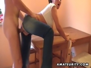 Hot brunette amateur girlfriend sucks and fucks at home free