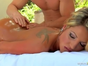 bald guy is going to massage her hard