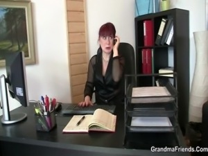 Office bitch pleases two cocks free