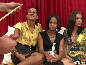 three whores on the couch love to watch naked guys