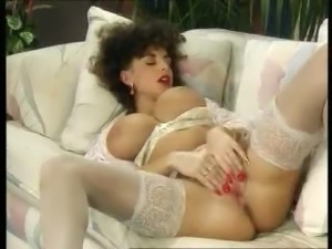 Sarah Young reaching orgasm on Sofa