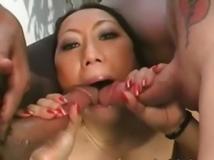 two boys divinely fucked Asian girl