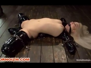 White and Black Slaves in BDSM Metal Bondage