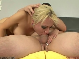 sexy blonde babe is giving a hell of a blowjob.