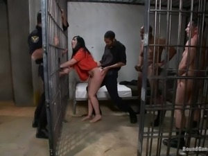 gang bang with a hot brunette prisoner