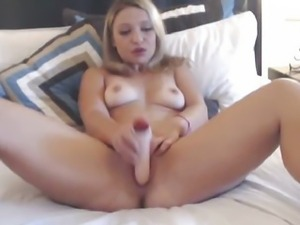 Blonde Penetrated her Pussy with Massive Dildo HD