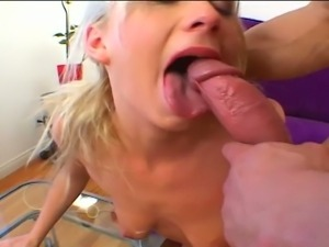 Young blonde slut first anal creampie