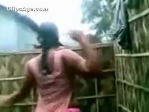 South Indian neighbor aunt caught full nude changing dress in outdoor...