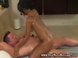 Horny masseuse sucks slippery cock free