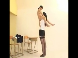 Tall Teacher And Short Student Lift And Carry free