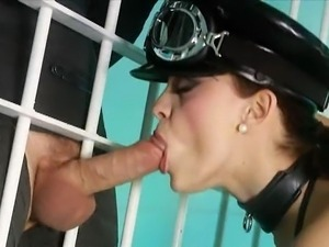 Police woman in latex wants two