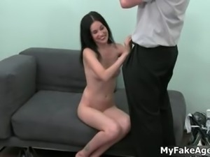 Cute brunette girl gets horny showing part1