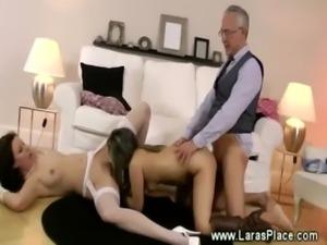 Hot fucking in mature threesome with hot younger babe free