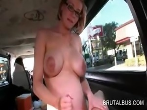 Pregnant blonde tramp sucking pecker in the sex bus