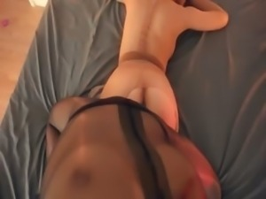 Crazy lezzs in nylon suits having sex