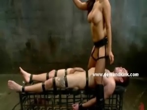 Hot asian mistress with her girlfriend pervert tied male victim in slavery...