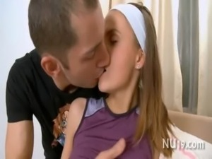 Excited teen girl kisses free