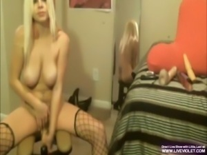Little busty blonde Lexi rides her dildo free