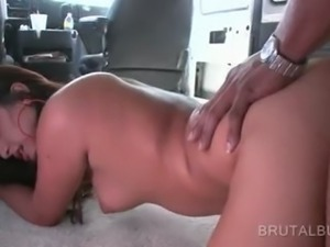 Brunette amateur banged hardcore in the sex bus