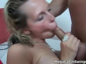 Sexy blonde slut gets horny sucking part3