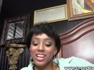 ebony babe sucks a white dick