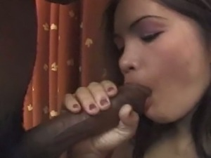 Asian brunette gets banged hard