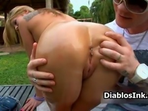 Blonde chick with her pierced anus drops
