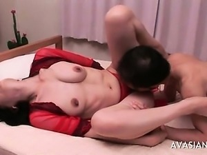 Hairy With red Bikini Screams Over Huge Dildo
