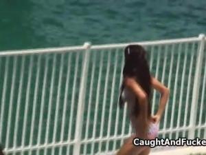 Bigtit bikini teen caught and fucked