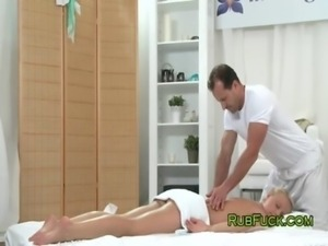 Masseur cums on boobs of blonde free