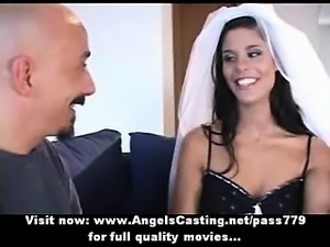 Amazing brunette bride does blowjob for big guy and has pussy licked