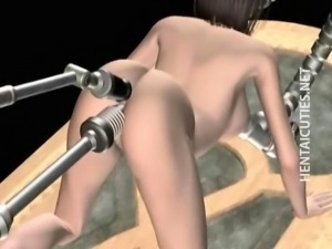 3D hentai slave rides a fucking machine