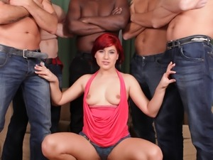Gangbang action with stunning slutty Lucy Bell