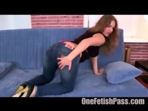 Cock slut in blue jeans free