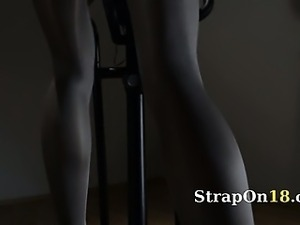 Babe love undress with strap om
