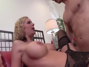 Small titted MILFs suck and ride and queen young dude