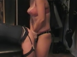 Sissy Fucked By 2 English Mistresses. Dildo Spitroast